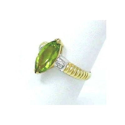 GENIUNE MARQUISE CUT PERIDOT & DIAMOND RING 18K YG