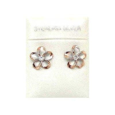SILVER 925 HAWAIIAN 10MM PLUMERIA FLOWER POST STUD EARRINGS RHODIUM PINK GOLD 2T
