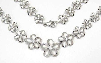 SILVER 925 GRADUATED HAWAIIAN PLUMERIA NECKLACE RHODIUM