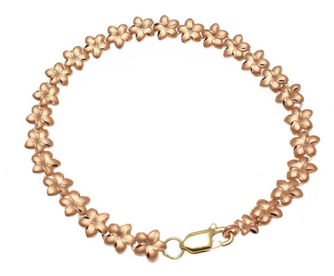 SOLID 14K ROSE GOLD HAWAIIAN PLUMERIA FLOWER BRACELET DIAMOND CUT 7MM 7""