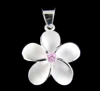 STERLING SILVER 925 HAWAIIAN SINGLE PLUMERIA FLOWER PENDANT CHARM PINK CZ 20MM