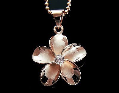 ROSE GOLD PLATED SILVER 925 HAWAIIAN FANCY PLUMERIA FLOWER PENDANT CZ 24MM