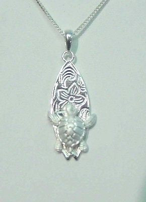 925 STERLING SILVER HAWAIIAN PLUMERIA SCROLL HONU SEA TURTLE SURFBOARD PENDENT