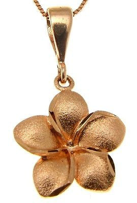 19MM 14K SOLID PINK ROSE GOLD HAWAIIAN TROPICAL PLUMERIA FLOWER PENDANT CHARM