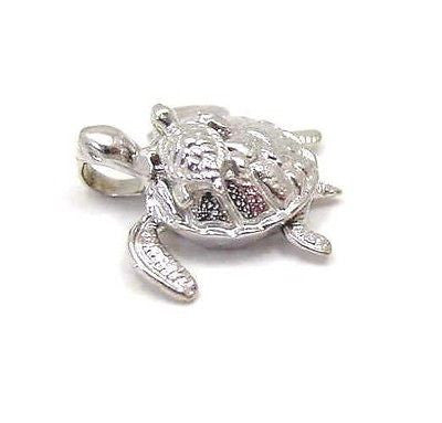 14K SOLID WHITE GOLD 3D MOVING HAWAIIAN SEA TURTLE HONU CARRY BABY PENDANT CHARM
