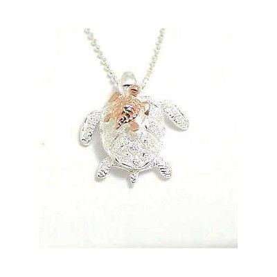 STERLING SILVER 925 HAWAIIAN HONU MOM PINK ROSE GOLD PLATED BABY TURTLE PENDANT