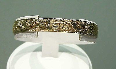 14K GOLD 12MM CUSTOM MADE HAWAIIAN KING DESIGN BANGLE