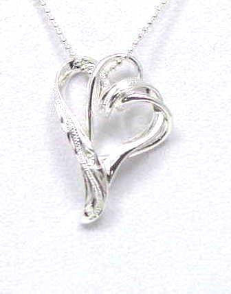 925 STERLING SILVER FLOATING DOUBLE HEART LOVE HAWAIIAN SCROLL PENDENT