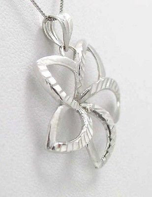 26MM SOLID 14K WHITE GOLD HAWAIIAN OPEN PLUMERIA FLOWER SMOOTH DIAMOND CUT