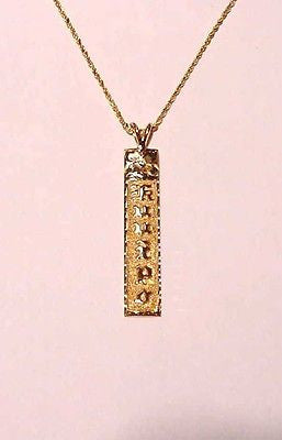 14K SOLID YELLOW GOLD PERSONALIZED HAWAIIAN VERTICAL PENDANT 6MM RAISED LETTER