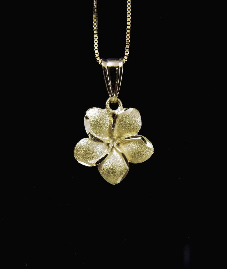 13MM SOLID 14K YELLOW GOLD HAWAIIAN PLUMERIA FLOWER PENDANT CHARM