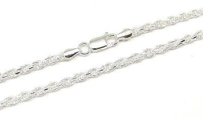 ITALIAN SILVER 925 DIAMOND CUT ROPE CHAIN 3MM 18""