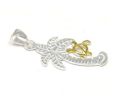 SILVER 925 HAWAIIAN PALM TREE GOLD HONU TURTLE PENDANT