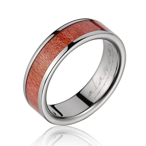 GENUINE INLAY PINK WOOD WEDDING BAND RING TITANIUM 6MM SIZE 4-12