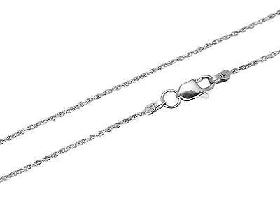 "1MM SOLID 14K WHITE GOLD DIAMOND CUT ROPE CHAIN NECKLACE LOBSTER CLASP 16"" - 24"""