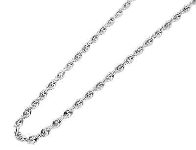 2MM SOLID 14K WHITE GOLD DIAMOND CUT ROPE CHAIN ANKLET 9""
