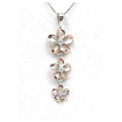 STERLING SILVER 925 HAWAIIAN 3 PLUMERIA FLOWER DANGLE PENDANT RHODIUM PINK ROSE