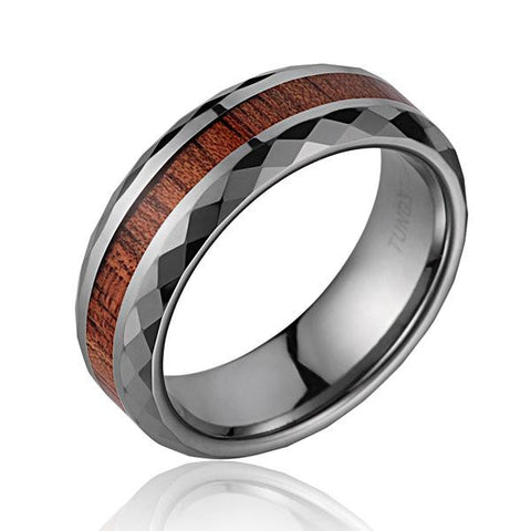 GENUINE HAWAIIAN KOA WOOD BAND RING SMOOTH DIAMOND CUT TUNGSTEN COMFORT FIT 7MM