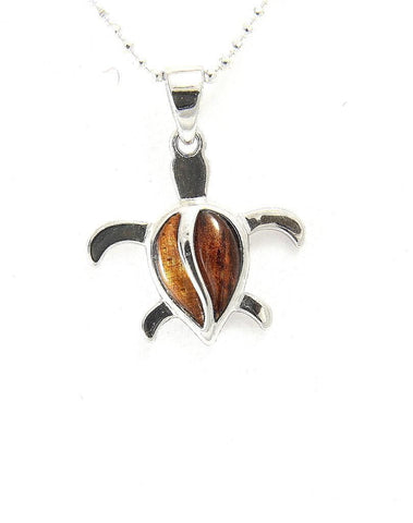 GENUINE INLAY HAWAIIAN KOA WOOD HONU TURTLE PENDANT  STERLING SILVER 925 SMALL