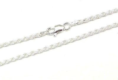 ITALIAN SILVER 925 DIAMOND CUT ROPE CHAIN 2.5MM 24""