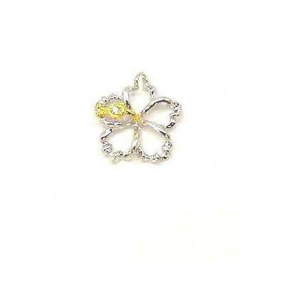 YELLOW SILVER 925 HAWAIIAN OPEN FLOATING HIBISCUS FLOWER PENDANT 12MM