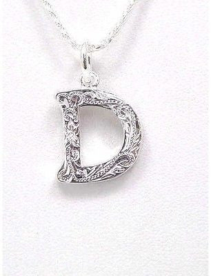 "925 HEAVY HAWAIIAN PLUMERIA SCROLL INITIAL ""D"" PENDANT"