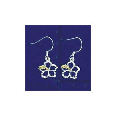 YELLOW SILVER 925 HAWAIIAN OPEN CUT OUT HIBISCUS FLOWER EARRINGS WIRE HOOK 15MM