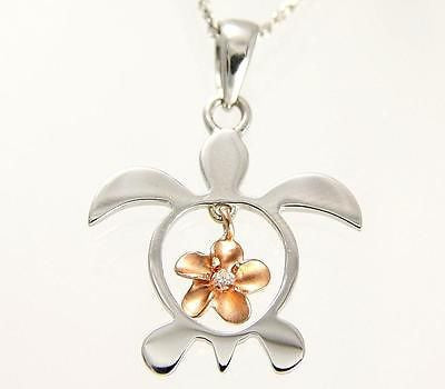SOLID 14K WHITE GOLD HONU TURTLE PINK ROSE GOLD PLUMERIA FLOWER HAWAIIAN PENDANT