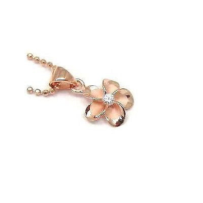 PINK ROSE SILVER 925 HAWAIIAN PLUMERIA FLOWER PENDANT CZ 10MM