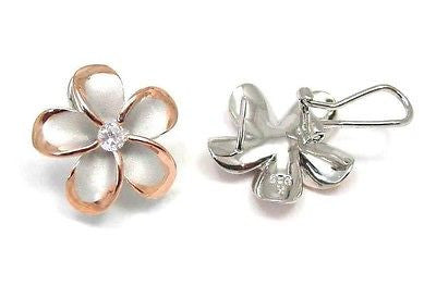 24MM SILVER 925 HAWAIIAN PLUMERIA OMEGA BACKS RHODIUM P