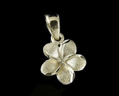 9MM 14K SOLID YELLOW GOLD HAWAIIAN PLUMERIA TROPICAL FLOWER CHARM PENDANT