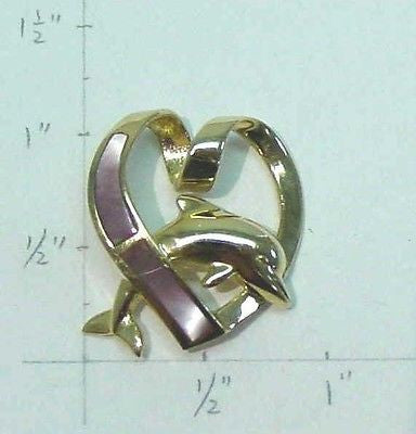 14K SOLID YELLOW GOLD HAWAIIAN DOLPHIN PINK MOTHER OF PEARL HEART SLIDER PENDANT