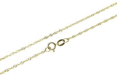 SOLID 14K YELLOW GOLD SPARKLY SINGAPORE CHAIN ANKLET 9""