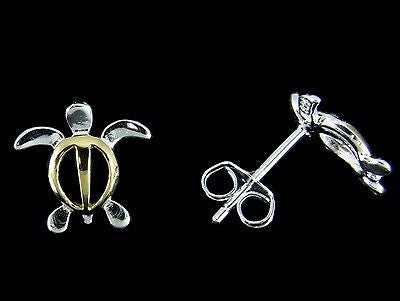 STERLING SILVER 925 2 TONE YELLOW SMALL HAWAIIAN HONU TURTLE STUD POST EARRINGS