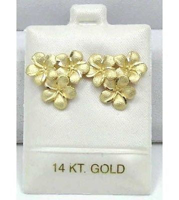 SOLID 14K YELLOW GOLD 10MM 3 HAWAIIAN PLUMERIA FLOWER CLUSTER POST STUD EARRINGS