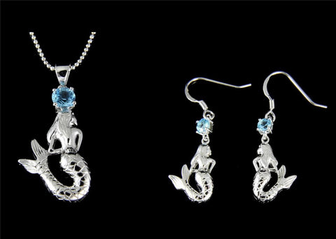 GENUINE BLUE TOPAZ 925 SILVER HAWAIIAN MERMAID PENDANT HOOK EARRINGS SET