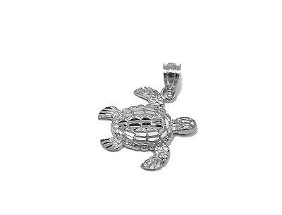 14K SOLID WHITE GOLD SPARKLY DIAMOND CUT SIDE HAWAIIAN SEA TURTLE HONU PENDANT S
