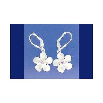 STERLING SILVER 925 HAWAIIAN PLUMERIA FLOWER LEVERBACK EARRINGS PINK CZ 15MM