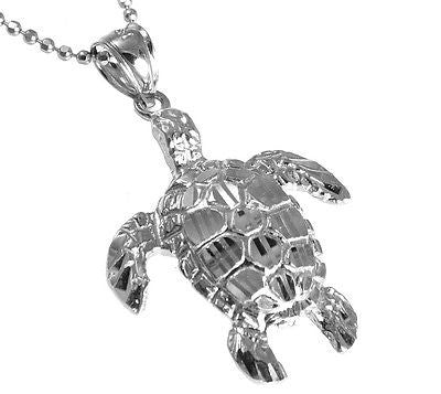 14K SOLID WHITE GOLD SPARKLY DIAMOND CUT HAWAIIAN SEA TURTLE HONU PENDANT LARGE
