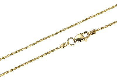 "1MM SOLID 14K YELLOW GOLD DIAMOND CUT ROPE CHAIN NECKLACE LOBSTER CLASP 16"" -24"""