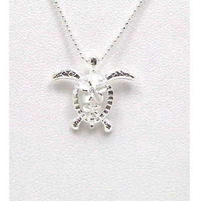 STERLING SILVER 925 HAWAIIAN LARGE SMALL PLUMERIA HONU TURTLE PENDANT