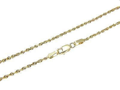 1.2MM SOLID 14K YELLOW GOLD DIAMOND CUT ROPE CHAIN NECKLACE 16""