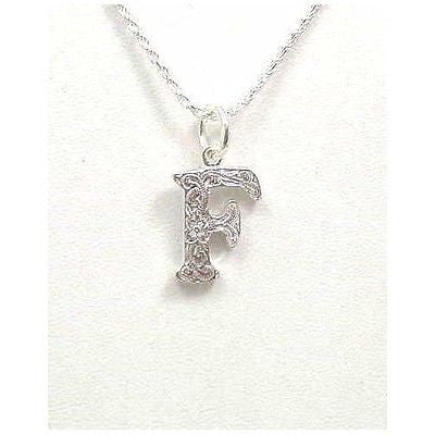 925 SILVER HEAVY HAWAIIAN PLUMERIA FLOWER SCROLL INITIAL LETTER F PENDANT