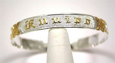 SILVER 925 HAWAIIAN BANGLE BRACELET SCROLL RAISED KUUIPO CUT OUT EDGE 10MM 2T