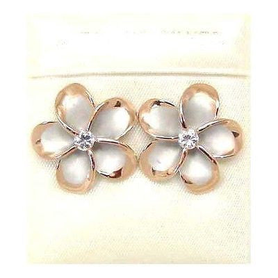 18MM SILVER 925 HAWAIIAN PLUMERIA EARRINGS RHODIUM PG