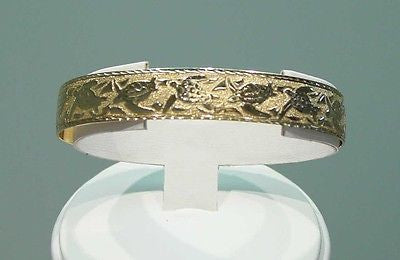 14K SOLID YELLOW GOLD 10MM CUSTOM MADE HAWAIIAN SEA LIFE TURTLE CUFF BANGLE
