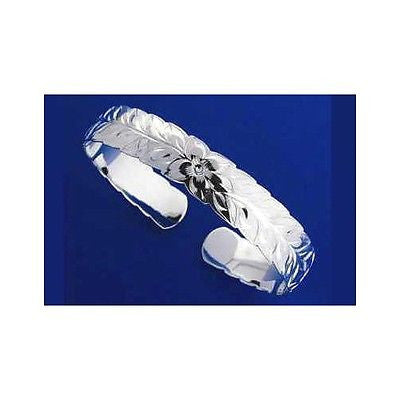 SILVER 925 HAWAIIAN CUFF BANGLE BRACELET PLUMERIA FLOWER MAILE LEAF CUT OUT 8MM