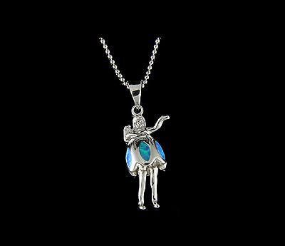 INLAY OPAL HAWAIIAN DANCING HULA GIRL MOVABLE SKIRT AND LEGS SILVER 925 PENDANT