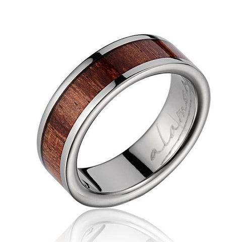 GENUINE INLAY HAWAIIAN KOA WOOD WEDDING BAND RING TITANIUM 6MM SIZE 3-14