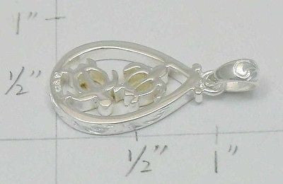 STERLING SILVER 925 HAWAIIAN SCROLL YELLOW GOLD PLATED HONU TURTLE PENDANT HEAVY